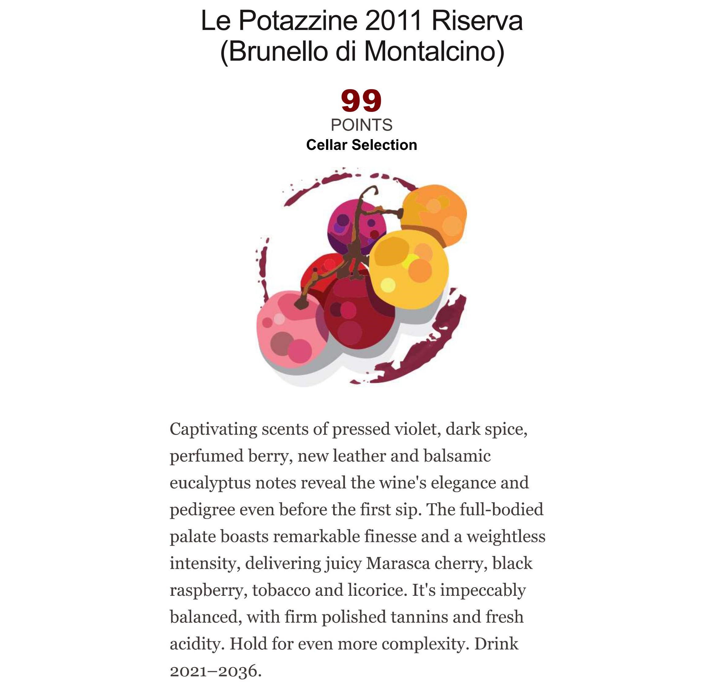 Our Brunello Riserva 2011 Rated 99 Points By Kerin OKeefe On Wine Enthusiast